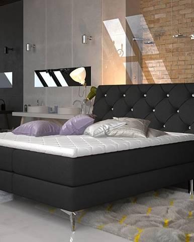 Amika 180 čalúnená manželská posteľ s úložným priestorom čierna (Sawana 14)