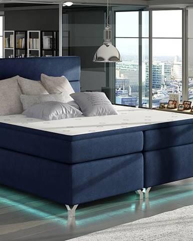 Avellino 140 čalúnená manželská posteľ s úložným priestorom tmavomodrá