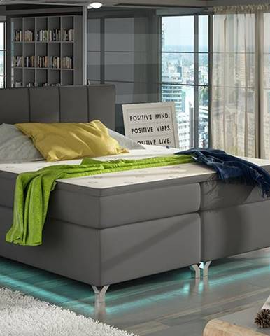 Barino 140 čalúnená manželská posteľ s úložným priestorom sivá (Soft 29)