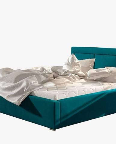 Branco 140 čalúnená manželská posteľ s roštom tyrkysová