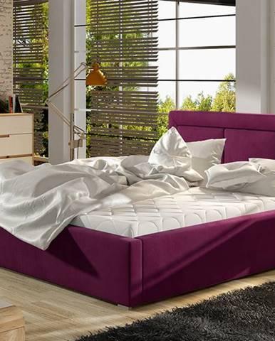 Branco 140 čalúnená manželská posteľ s roštom vínová