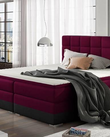 Dalino 180 čalúnená manželská posteľ s úložným priestorom vínová