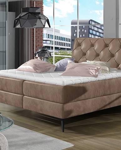 Lazio 140 čalúnená manželská posteľ s úložným priestorom hnedá
