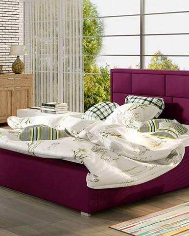 Liza 180 čalúnená manželská posteľ s roštom vínová
