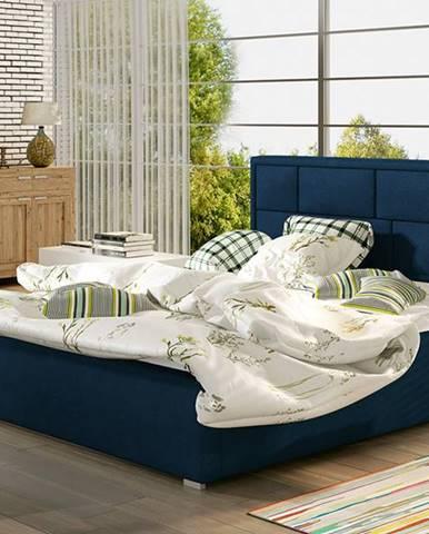 Liza UP 180 čalúnená manželská posteľ s roštom tmavomodrá