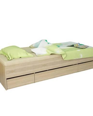 Matiasi 90 jednolôžková posteľ s úložným priestorom dub sonoma