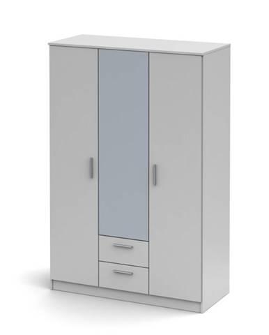 Noko-Singa 82 3D šatníková skriňa so zrkadlom biela
