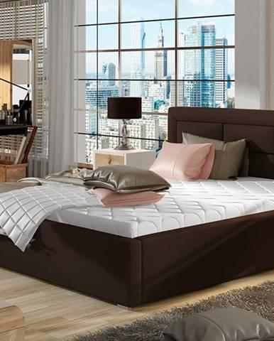 Rovigo 180 čalúnená manželská posteľ s roštom tmavohnedá (Soft 66)