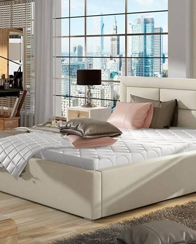 Rovigo UP 160 čalúnená manželská posteľ s roštom béžová