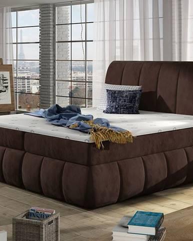 Vareso 160 čalúnená manželská posteľ s úložným priestorom tmavohnedá (Kronos 06)