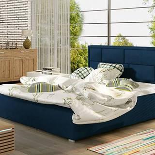 Liza 180 čalúnená manželská posteľ s roštom tmavomodrá
