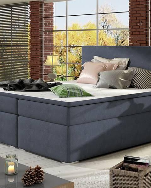 NABBI Diana 140 čalúnená manželská posteľ s úložným priestorom modrá