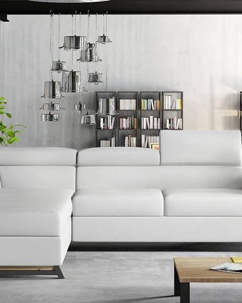 NABBI Korense L rohová sedačka s rozkladom a úložným priestorom biela