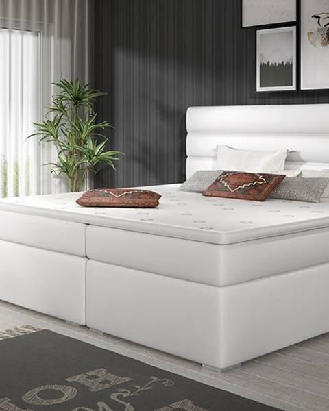 NABBI Spezia 160 čalúnená manželská posteľ s úložným priestorom biela