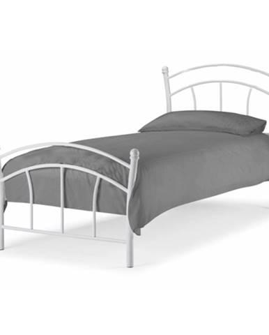Burzum 90 kovová jednolôžková posteľ s roštom biela