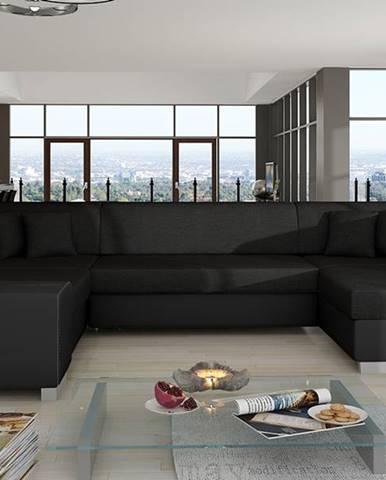 Halvega L rohová sedačka u s rozkladom a úložným priestorom čierna (Sawana 14)