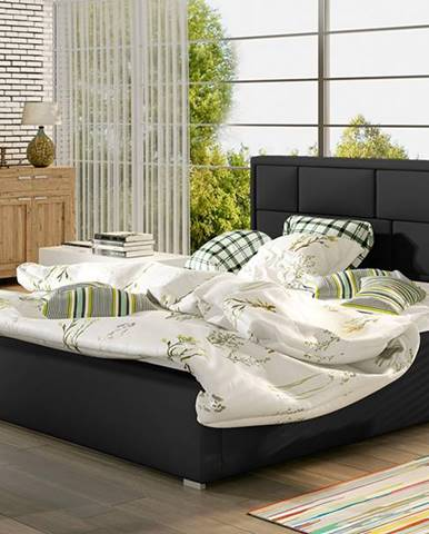Liza 180 čalúnená manželská posteľ s roštom čierna