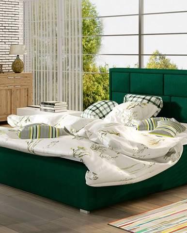 Liza UP 160 čalúnená manželská posteľ s roštom tmavozelená