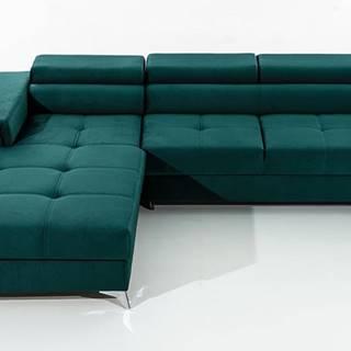 Rosino L rohová sedačka s rozkladom a úložným priestorom tmavozelená
