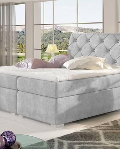 Beneto 140 čalúnená manželská posteľ s úložným priestorom svetlosivá (Omega 02)