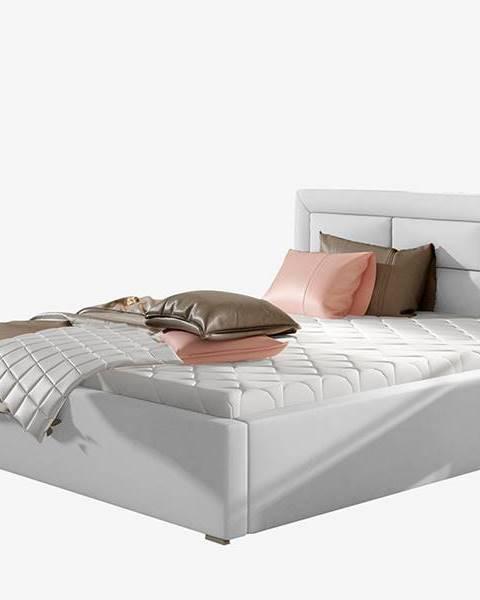 NABBI Rovigo 160 čalúnená manželská posteľ s roštom biela