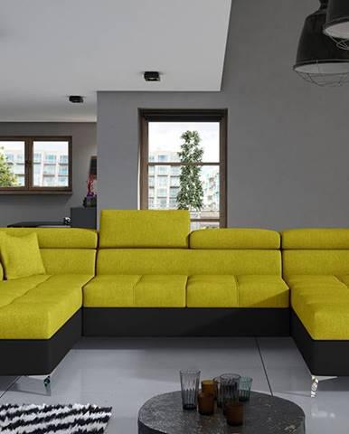 Enrico U L rohová sedačka u s rozkladom a úložným priestorom žltá