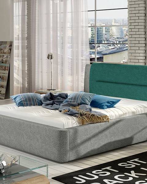 NABBI Portima 180 čalúnená manželská posteľ sivá