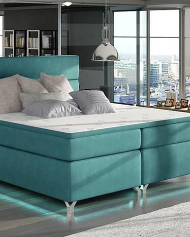 Avellino 160 čalúnená manželská posteľ s úložným priestorom svetlomodrá