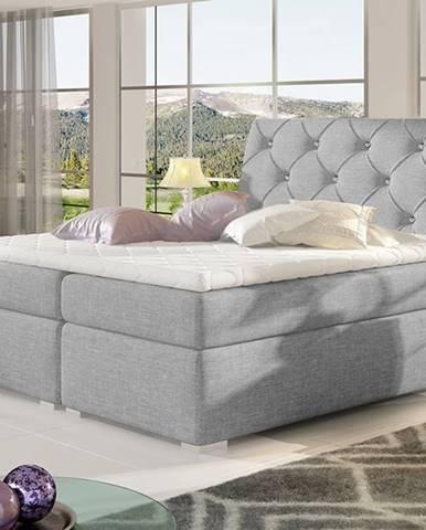Beneto 180 čalúnená manželská posteľ s úložným priestorom svetlosivá (Sawana 21)