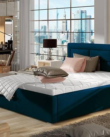 Rovigo UP 200 čalúnená manželská posteľ s roštom tmavomodrá