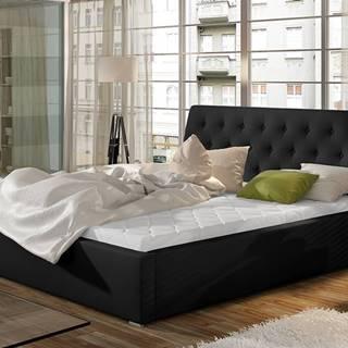 Monzo UP 160 čalúnená manželská posteľ s roštom čierna
