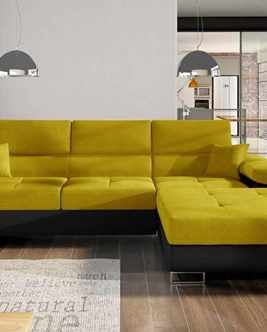 Alkazar P rohová sedačka s rozkladom a úložným priestorom žltá