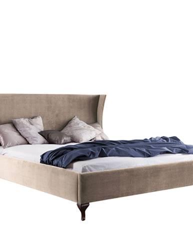 Classic CL-1 140 čalúnená manželská posteľ svetlohnedá (Velvet-B1 148)