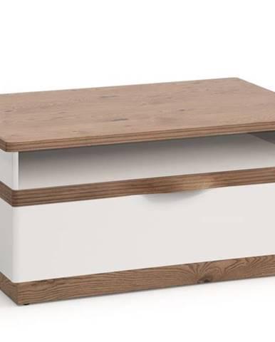 Como CM-S4 konferenčný stolík so zásuvkou biely vysoký lesk