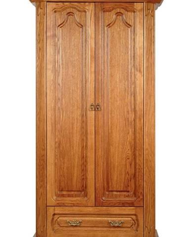 Kinga 2D rustikálna dvojdverová šatníková skriňa drevo D3