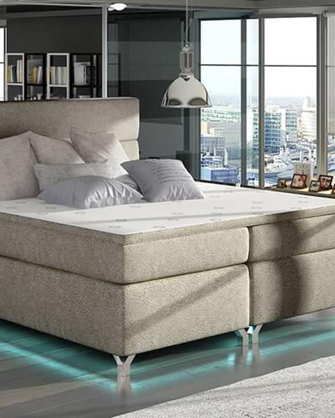 NABBI Avellino 160 čalúnená manželská posteľ s úložným priestorom svetlohnedá