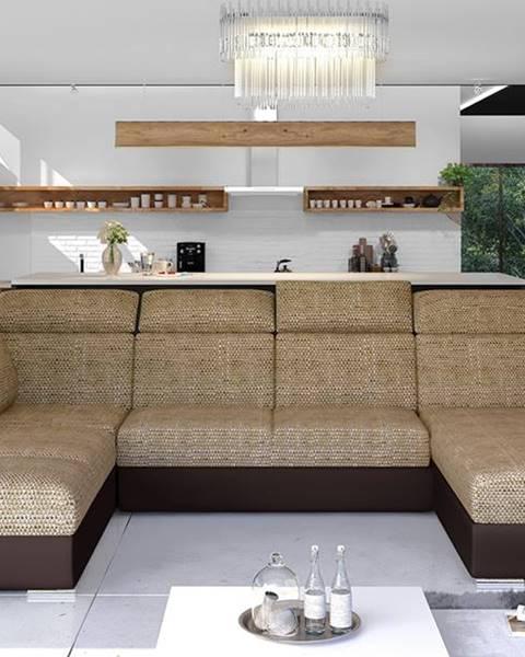 NABBI Ermo U L rohová sedačka u s rozkladom a úložným priestorom cappuccino
