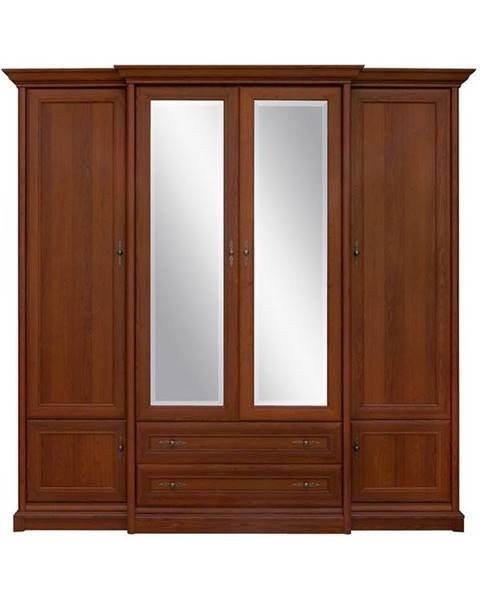 BLACK RED WHITE Kent ESZF4D2S rustikálna šatníková skriňa so zrkadlom gaštan