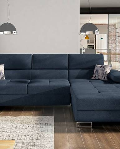Alkazar P rohová sedačka s rozkladom a úložným priestorom modrá (Soro 76)
