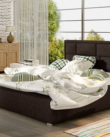 Liza 180 čalúnená manželská posteľ s roštom tmavohnedá (Sawana 26)