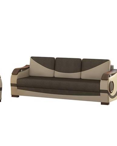 Pietro 3+1 rozkladacia sedacia súprava s úložným priestorom hnedá
