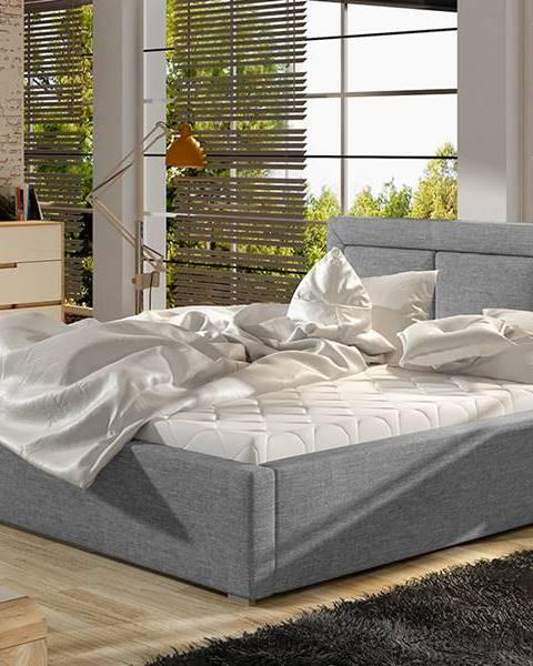 NABBI Branco UP 140 čalúnená manželská posteľ s roštom svetlosivá (Sawana 21)