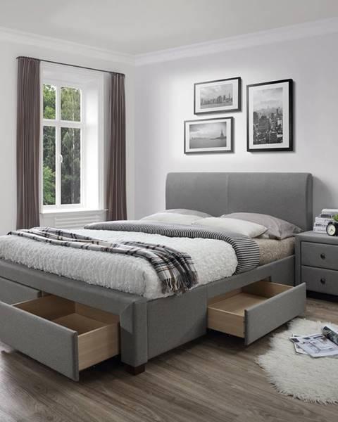 Halmar Modena 140 čalúnená manželská posteľ s roštom sivá