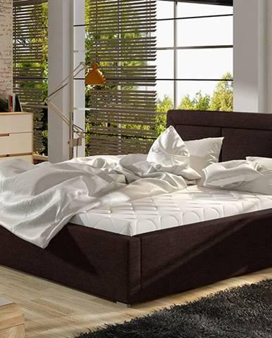 Branco 200 čalúnená manželská posteľ s roštom tmavohnedá (Sawana 26)