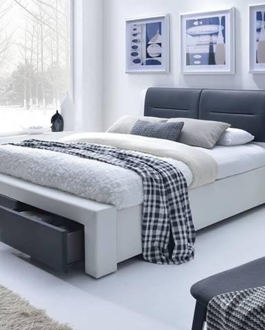 Cassandra S 160 čalúnená manželská posteľ s roštom biela