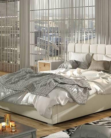 Galimo 160 čalúnená manželská posteľ s roštom béžová