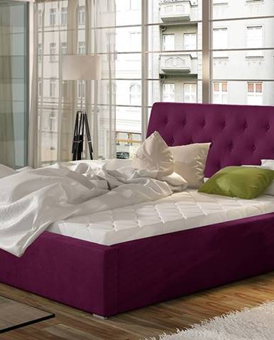 Monzo 200 čalúnená manželská posteľ s roštom vínová