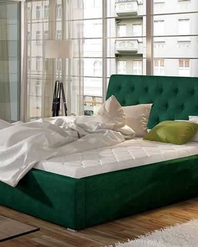 Monzo UP 200 čalúnená manželská posteľ s roštom tmavozelená