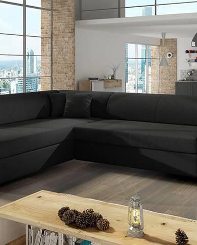 Pinero L rohová sedačka s rozkladom a úložným priestorom čierna (Sawana 14)