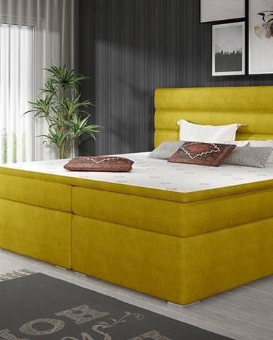 Spezia 180 čalúnená manželská posteľ s úložným priestorom žltá